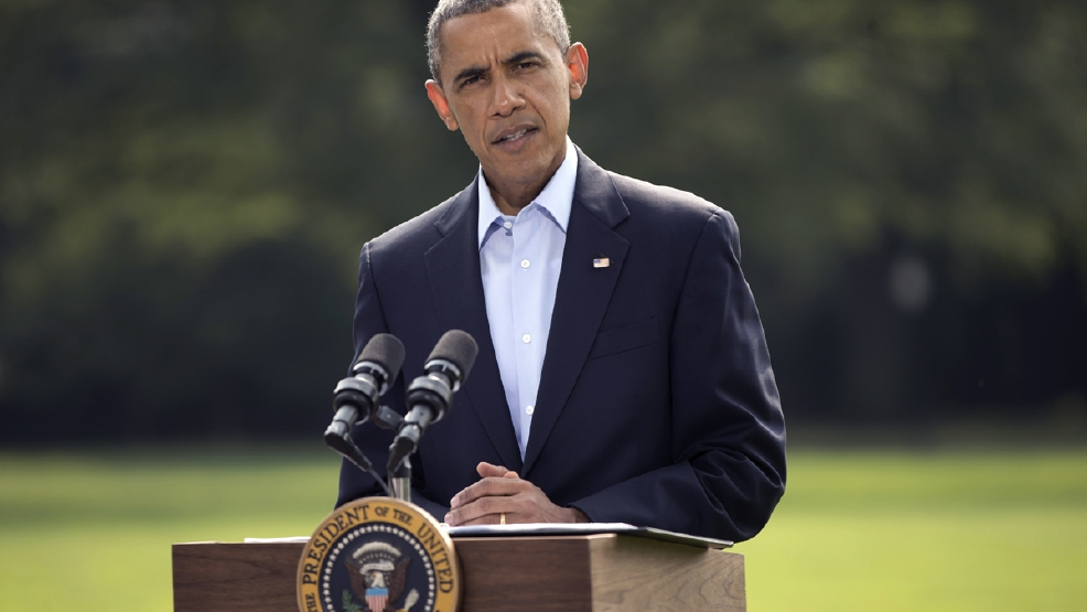 In this Aug. 9, 2014, photo, President Barack Obama speaks on the South Lawn of the White House in Washington, about the ongoing situation in Iraq. Obama already is heading toward a fall fight with Republicans over his ability to change immigration policies. And he's also facing potential rifts with members of his own party who are in tough re-election contests. If Obama takes the broadest action, removing the threat of deportation for millions of people who are in this country, then the short-term risks appear greatest for Senate Democrats in conservative-leaning states. (AP Photo/Pablo Martinez Monsivais)