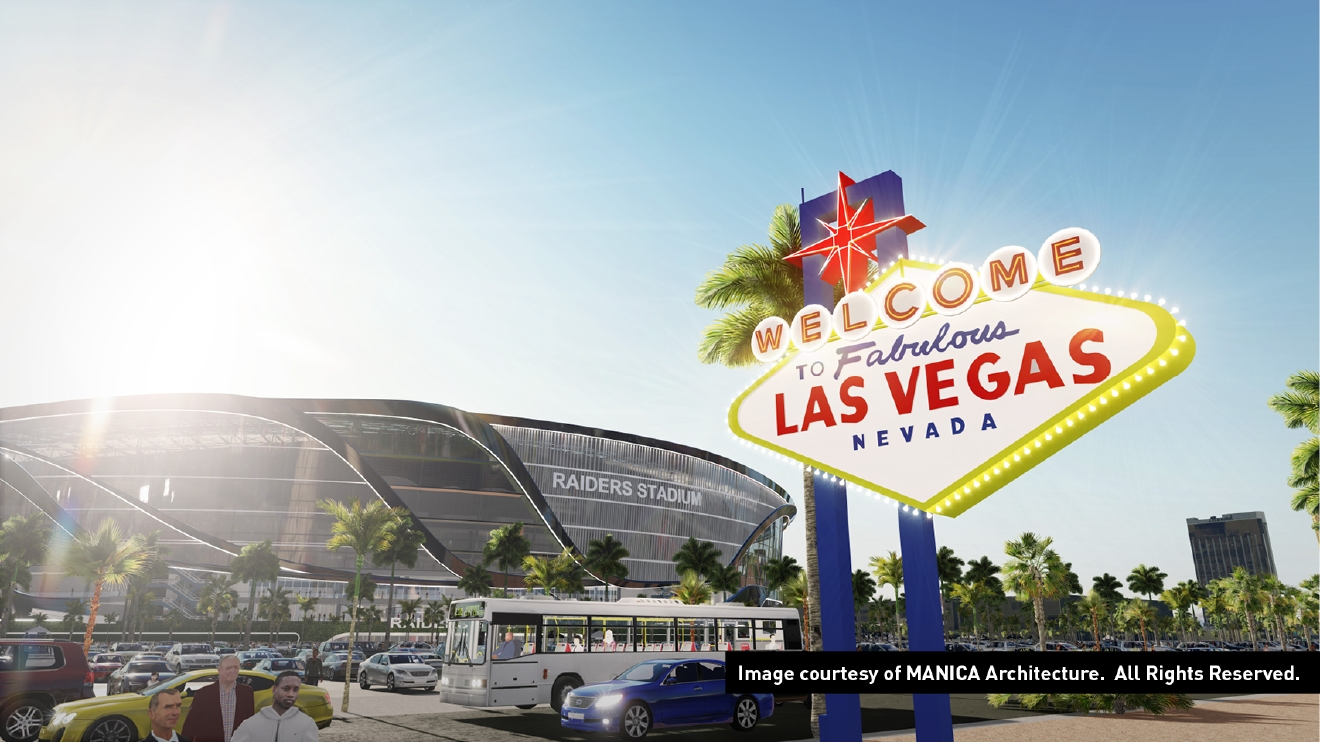 Illustrations of a 65,000-seat stadium that could lure the Raiders to Las Vegas. (Pictures courtesy of MANICA Architecture)