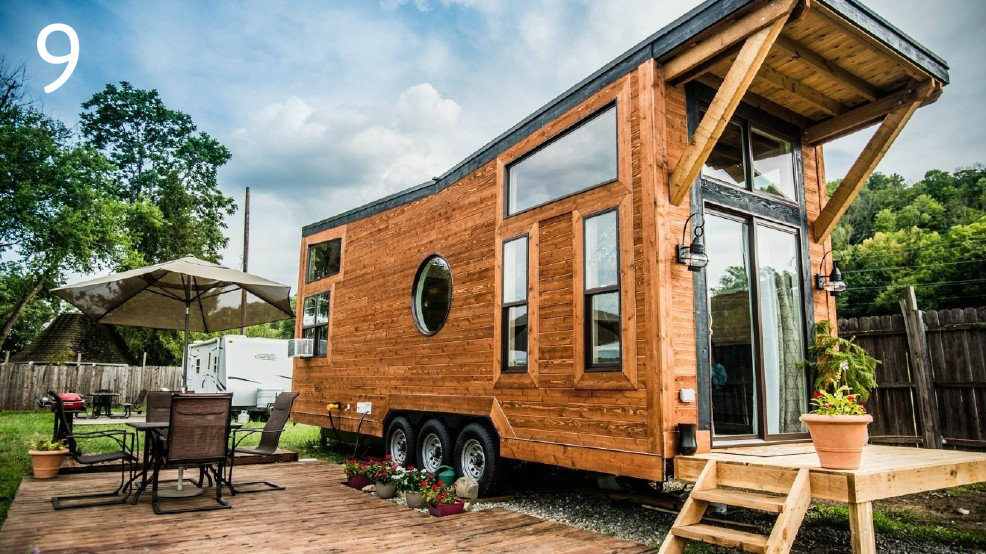 "#9 - You can rent this ""tiny home"" for $150 per night. Find out more in the Arts & Design section. / Image courtesy of Wheel Life Tiny Homes"
