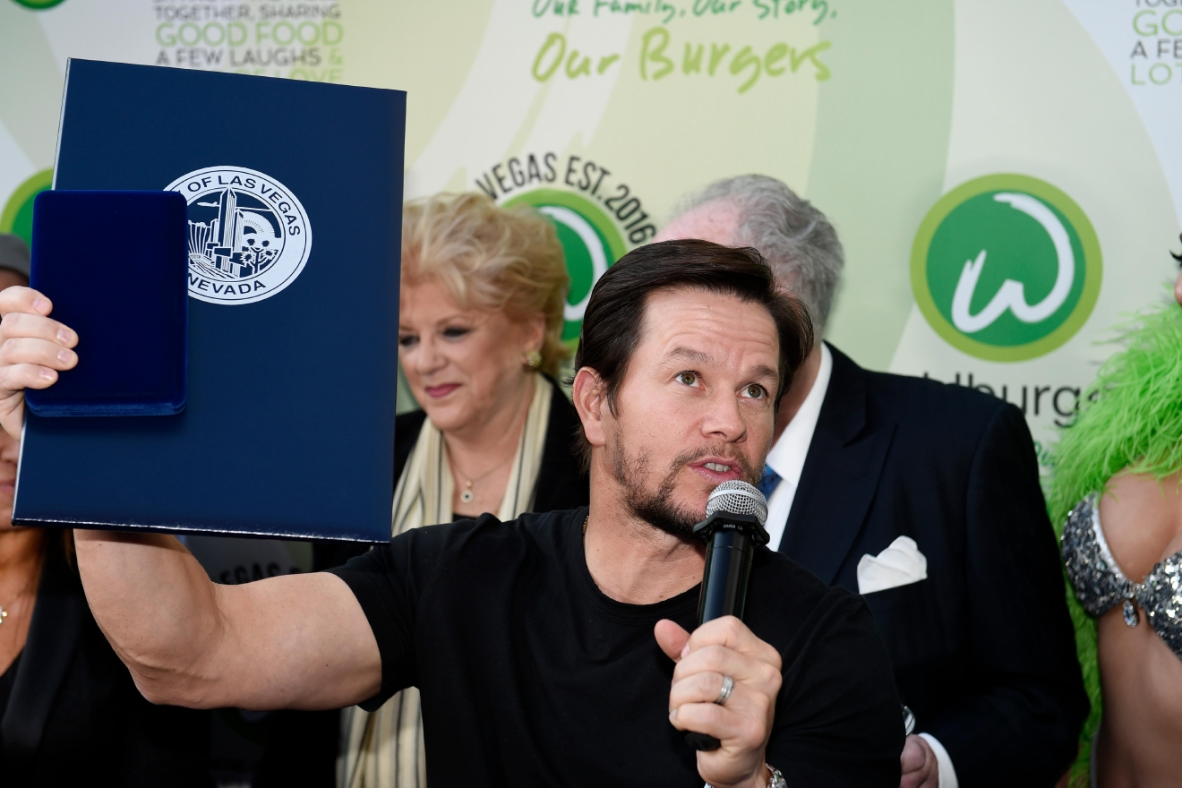 Mark Wahlberg talks to fans after receiving a key to the city as he arrives at a VIP event at Wahlburgers Las Vegas in the Grand Bazaar Shops at Bally's Tuesday, March 28, 2017. [Sam Morris/Las Vegas News Bureau]