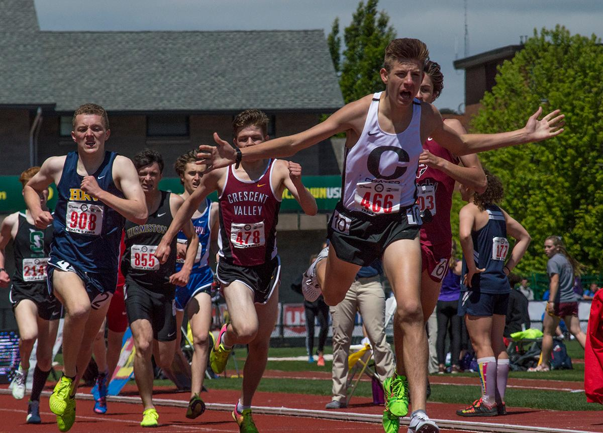 Jantz Tostenson of Crater High School wins the 5A Boys 1500 Meter race with a time of 4:04.07. The OSAA Track and Field Championships were held at Haward Field this weekend. Photo by Emily Gonzalez, Oregon News Lab.