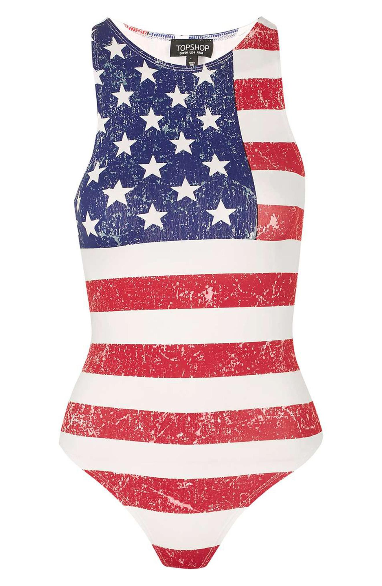 "What is more ""Fourth of July"" than jean shorts with American Flag anything? Throw some cutoff denim over this bodysuit and you're set for the day! ""Gigi"" 4th of July Bodysuit, $30, shop.nordstrom.com (Image: Courtesy Nordstrom)"
